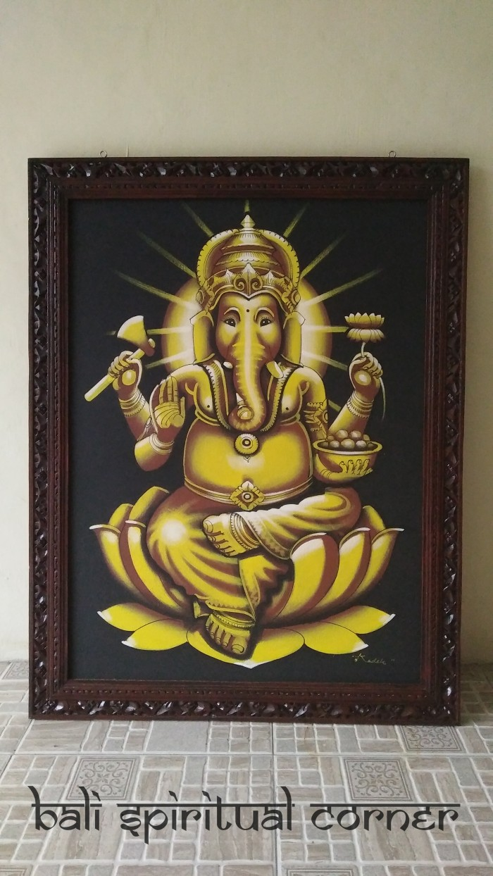 Jual Lukisan Kanvas Dewa Ganesha Pigura Hand Made Kota Denpasar Bali Spiritual Corner