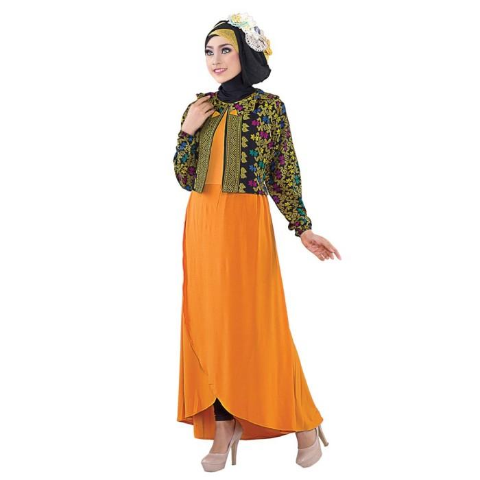 Jual Baju Gamis Kombinasi Batik Jersey Warna Kuning Sagy