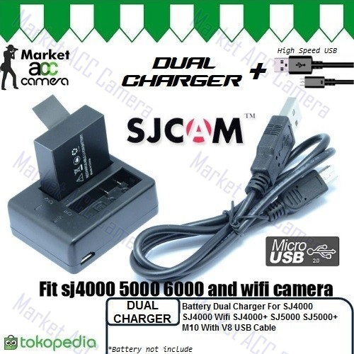 harga Usb dual charger for battery sjcam action camera (double charge) Tokopedia.com