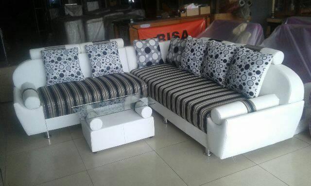 Sofa Minimalis L Hitam Putih Ruang Tamu Murah