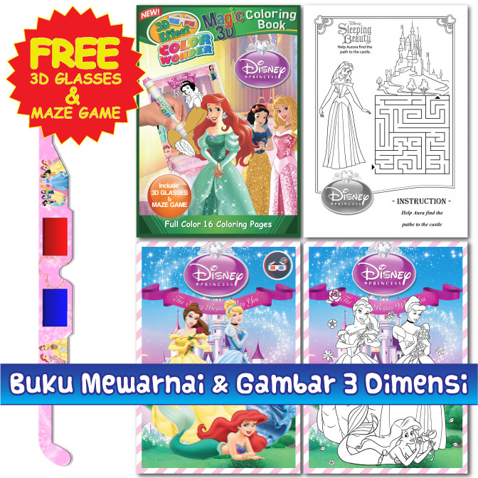 Jual 3d Buku Mewarnai Coloring Book Gratis 3d Kacamata Kidszone
