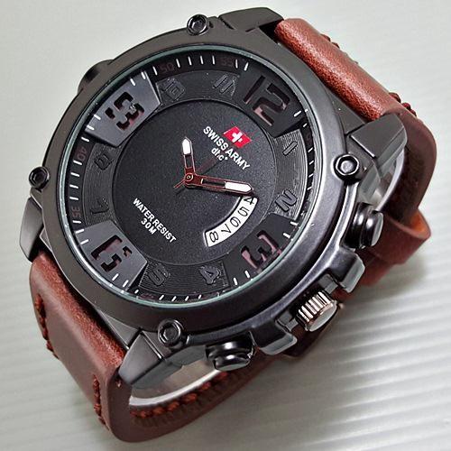 harga Jam tangan pria kulit cowok swiss army  promo Tokopedia.com
