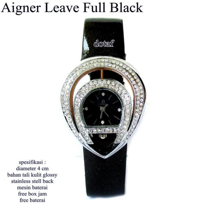 jam tangan wanita kulit glossy agner leave full set-black