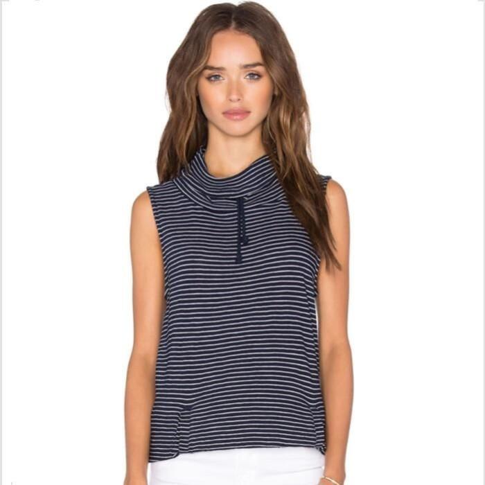 harga Atasan blouse turtle neck motif stipes tanpa lengan import murah Tokopedia.com