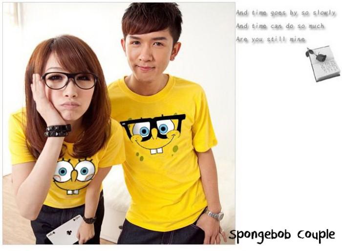 baju couple terbaru | oblong pasangan termurah | kaos couple spongebob