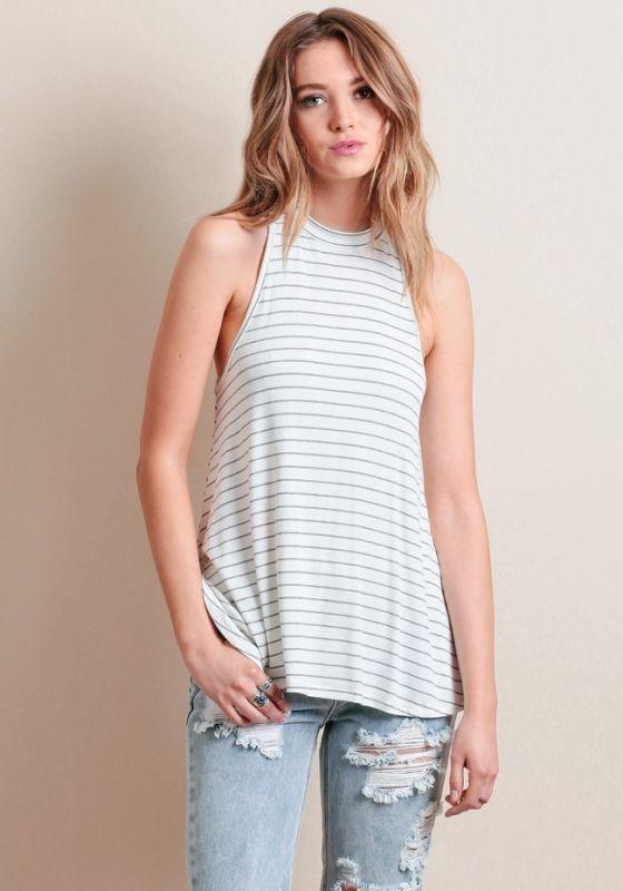 harga Atasan blouse blus kaos motif stripes tanpa lengan import murah Tokopedia.com