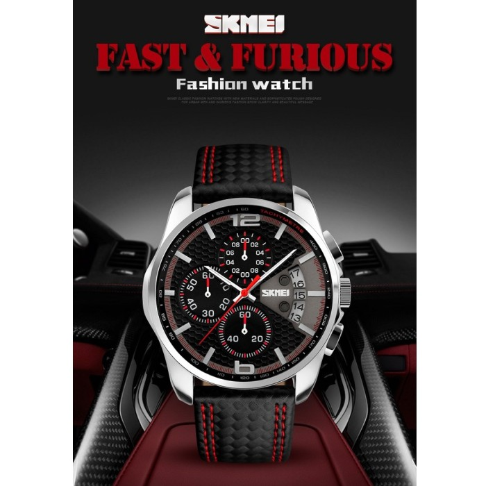 harga Skmei casual men leather strap watch water resistant 30m - 9106 Tokopedia.com