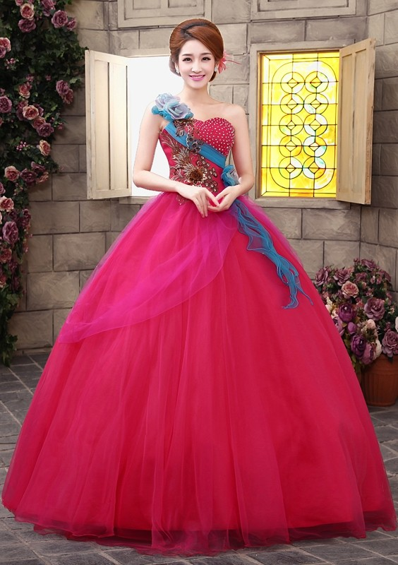Jual Wedding Dress Pink Fanta Organza Kristal Bordir Kemben Gaun