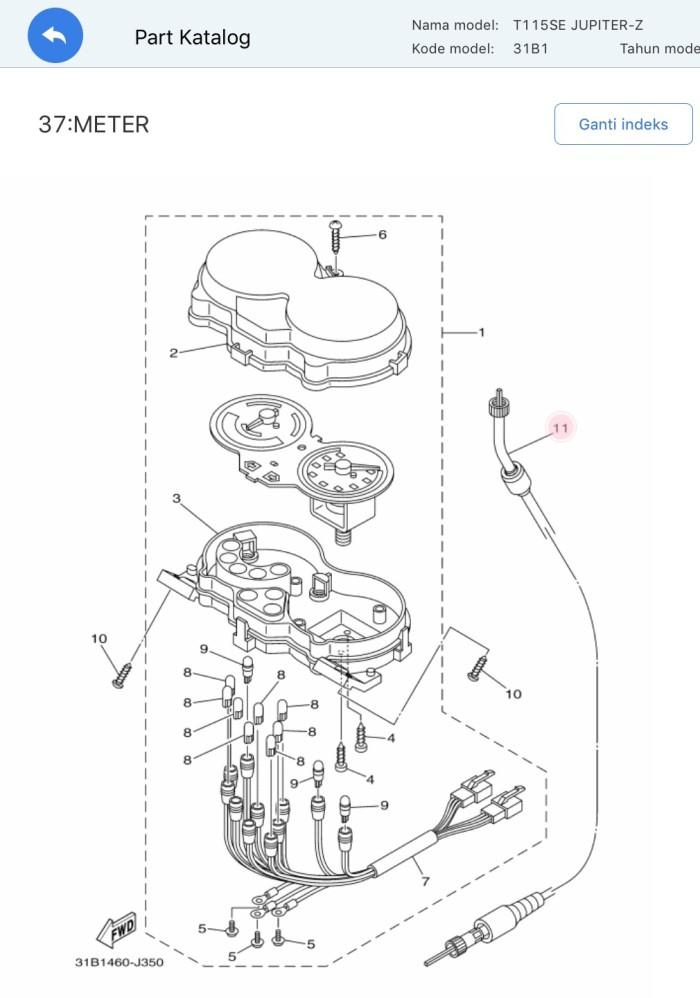 harga Kabel speedometer / kabel km jupiter z new (2010-2012) asli yamaha Tokopedia.com