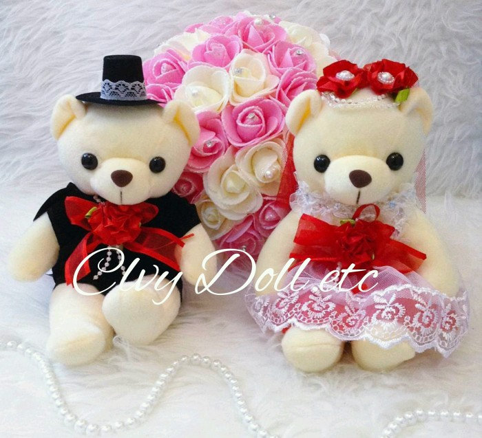 Jual Boneka Teddy Bear Wedding Couple - Red Glamour Lucu 8dbc8ccb1a