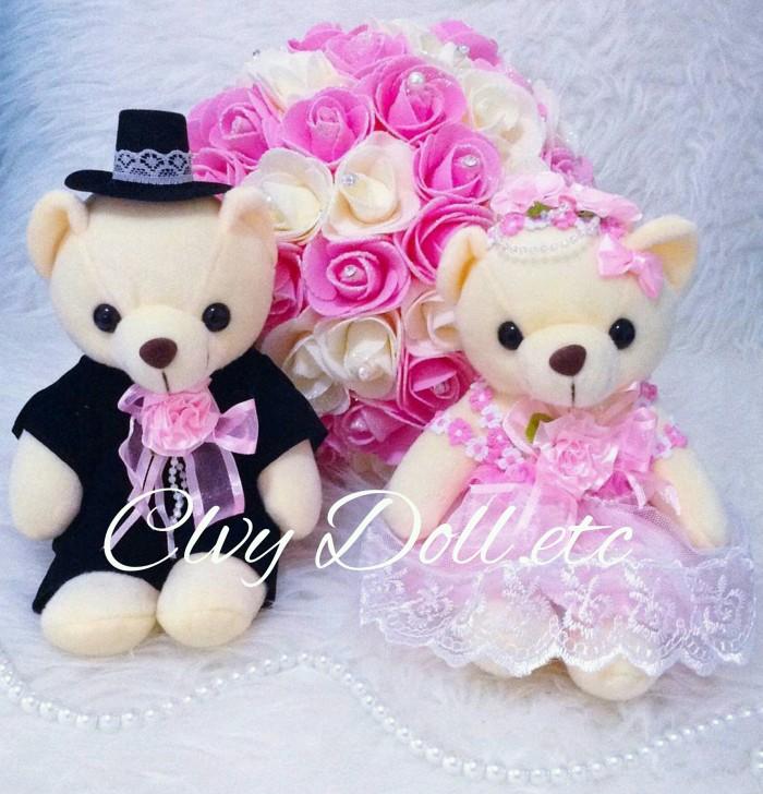 Jual Boneka Teddy Bear Wedding Couple - Lovely Pink Lucu 83a51238dd