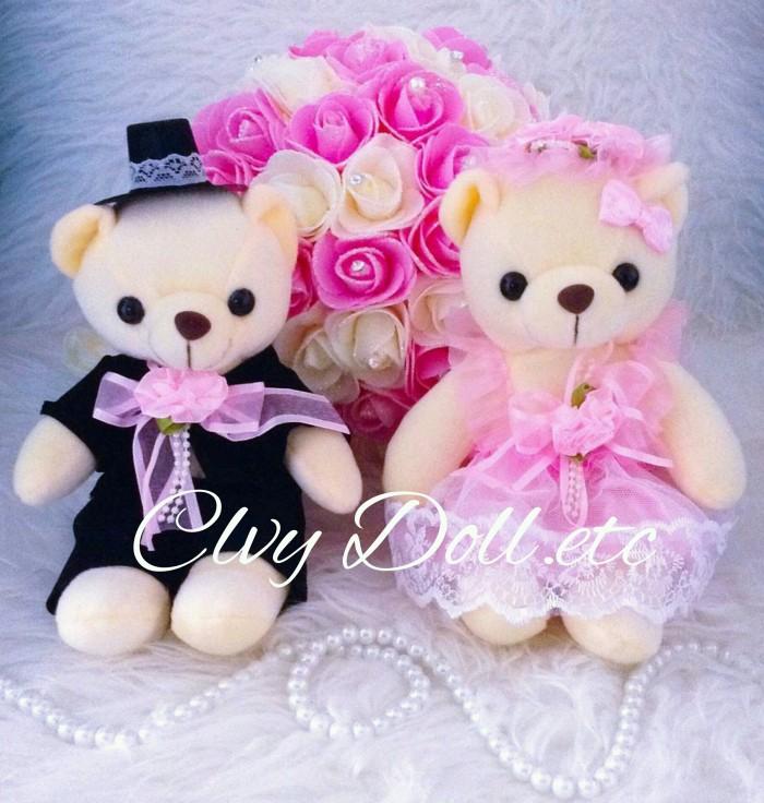 Jual Boneka Teddy Bear Wedding Couple - Rumbai Pink Lucu 1417350f59
