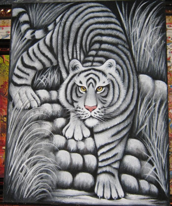 Nail Art Hitam Putih: Jual Lukisan Macan Warna Hitam Putih