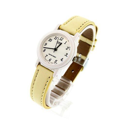 jam tangan perempuan kuning kulit lq139l-9b analog casio ori garansi .