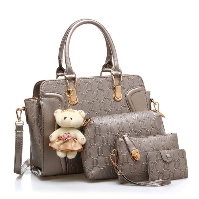 80636 Bronze, 4in1 Bags Cute Korea/Tas Import Set / TEDDY BEAR /Murah