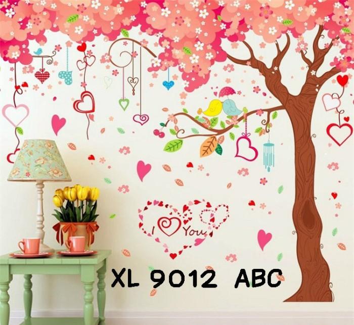 jual wall sticker uk.3x60x90 wall stiker dinding pohon sakura love