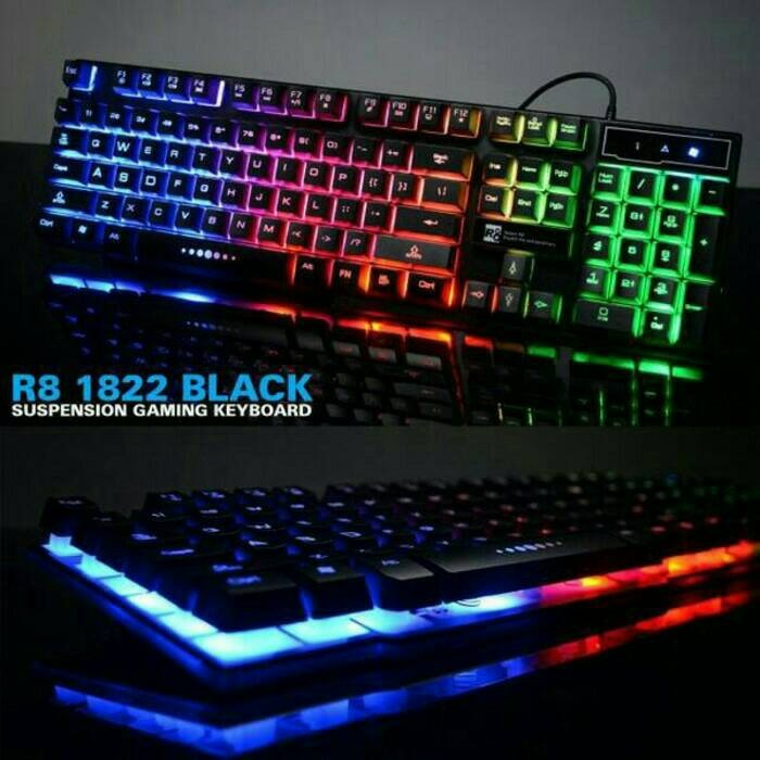 R8 KB 1822 Gaming Keyboard with Floating Keycaps (White/Black)