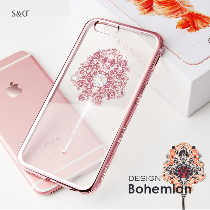 harga Iphone 6+ / 6 s plus   softcase casing transparan bohemian permata Tokopedia.com