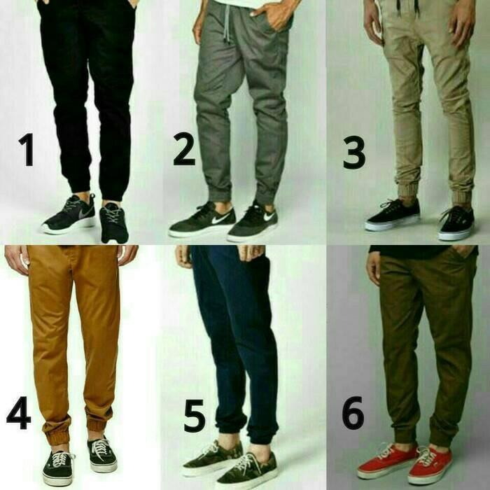 Fashion pria bawahan pria celana panjang pria celana jogger pants tali