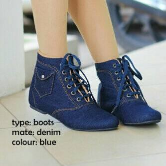 harga Sepatu korea boot boots flat wanita jeans denim biru Tokopedia.com