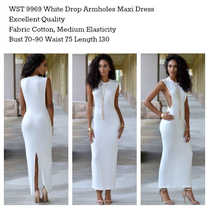 9969 WHITE BAJU LONG DRESS PANJANG SIMPLE PUTIH CASUAL SEXY SLIT GAUL