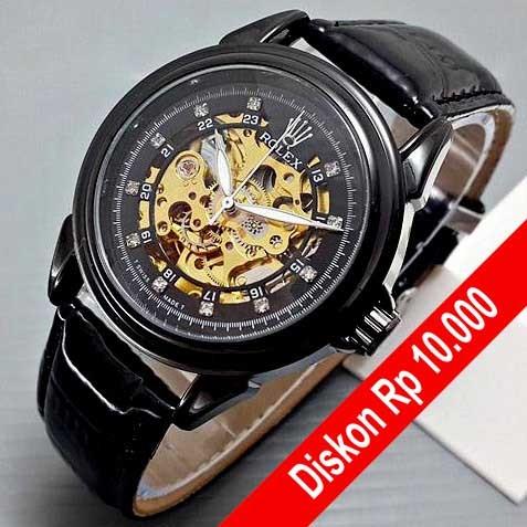 Jual Jam Tangan Rolex Pria Automatic Leather Full Black Hitam Terbaru Jakarta Pusat Munos Store Tokopedia