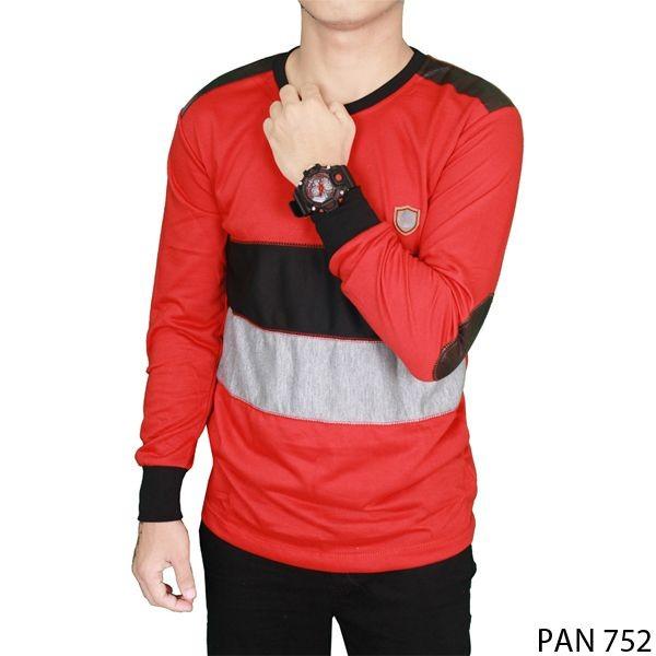 Long sleeve distro men tshirt baby tery merah  pan 752