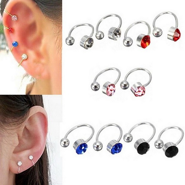 Bp0069 - anting jepit import korea model diamond permata kristal