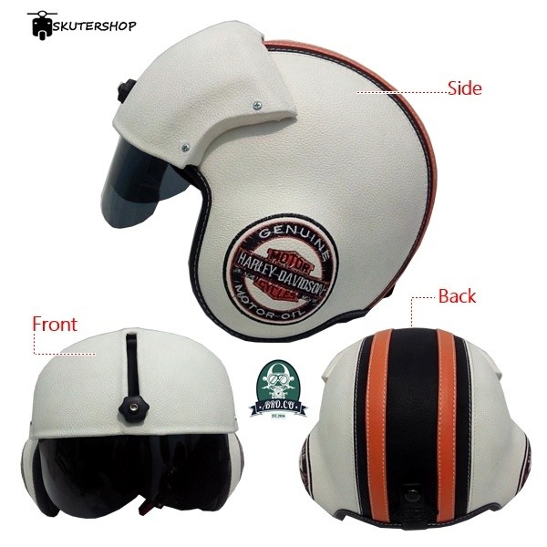 harga Helm pilot berkaca bro.co motif harley davidson logo white bone combi Tokopedia.com
