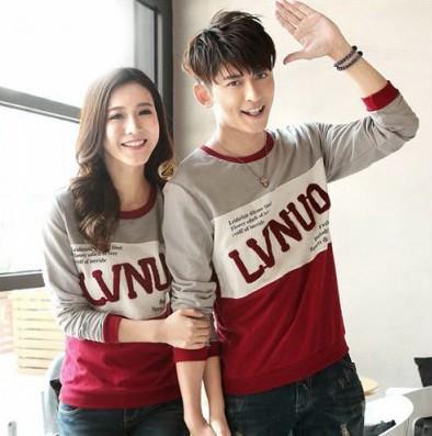 Baju couple lengan panjang / kaos pasangan soulmate lvnuo 9505
