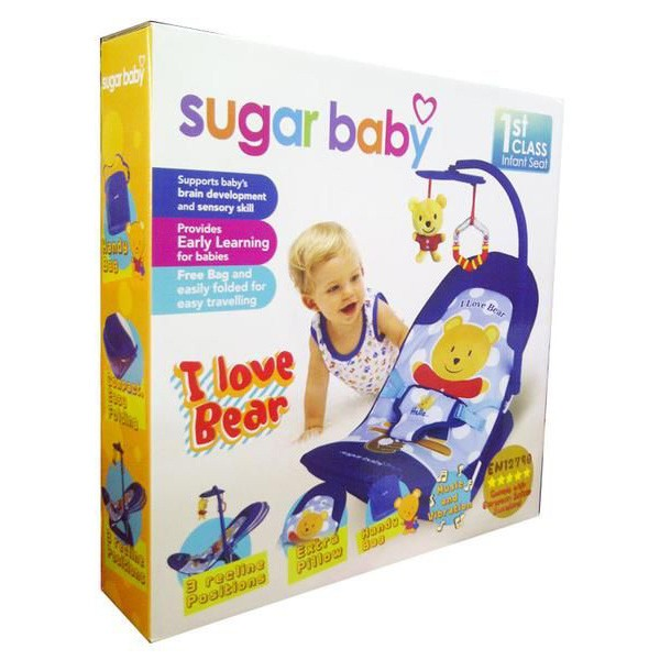 Bouncer Sugar Baby Infant Seat I Love Bear Biru Murah
