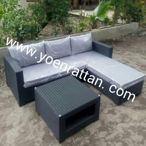 Jual Kursi Sofa Tamu L Set Rotan Sintetis Kota Bekasi Yoen