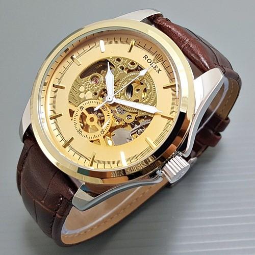 Jual Jam Tangan Pria Rolex Kulit Automatic Skeleton Big Size ... 85bd5f332a