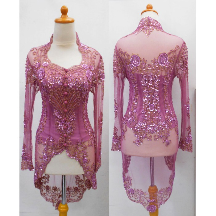harga Kebaya modern wisuda pesta muslimah lengan panjang pink fanta Tokopedia.com