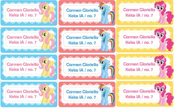 Jual Sticker Label Nama Anak My Little Pony - Tokojaya ...