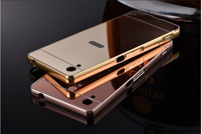 Bumper Case Mirror Sony Xperia M4 Aqua Alumunium Metal Bumper