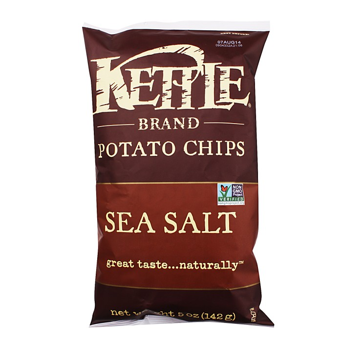 Kettle brand sea salt potato chips cemilan makanan snack chip import
