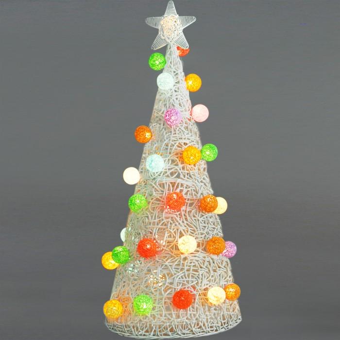 Pohon Natal Rotan Lampu Hias Cotton Bola Christmas 115cm