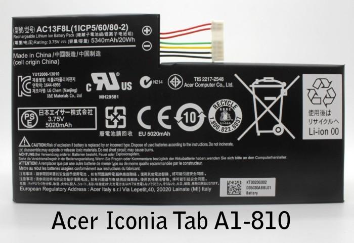 harga Batre / baterai / battery acer iconia tab a1-810 original Tokopedia.com