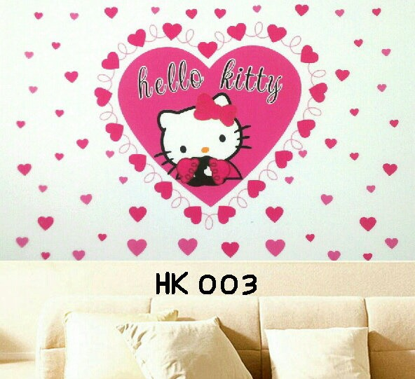 Wallsticker hello kitty love amor pink wall sticker 60x90 stiker hk003