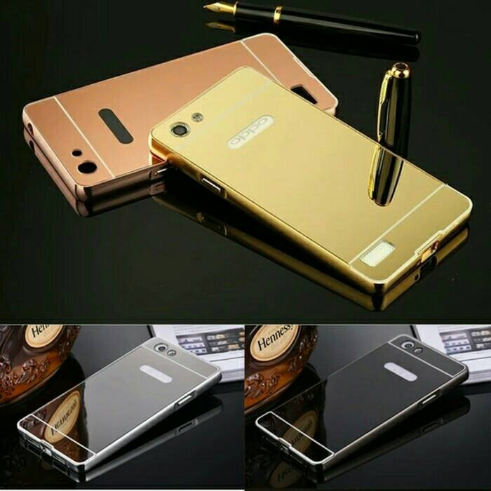 Metal Bumper Slide Mirror Keren Hard Cover Case Casing Oppo Neo 7 A33
