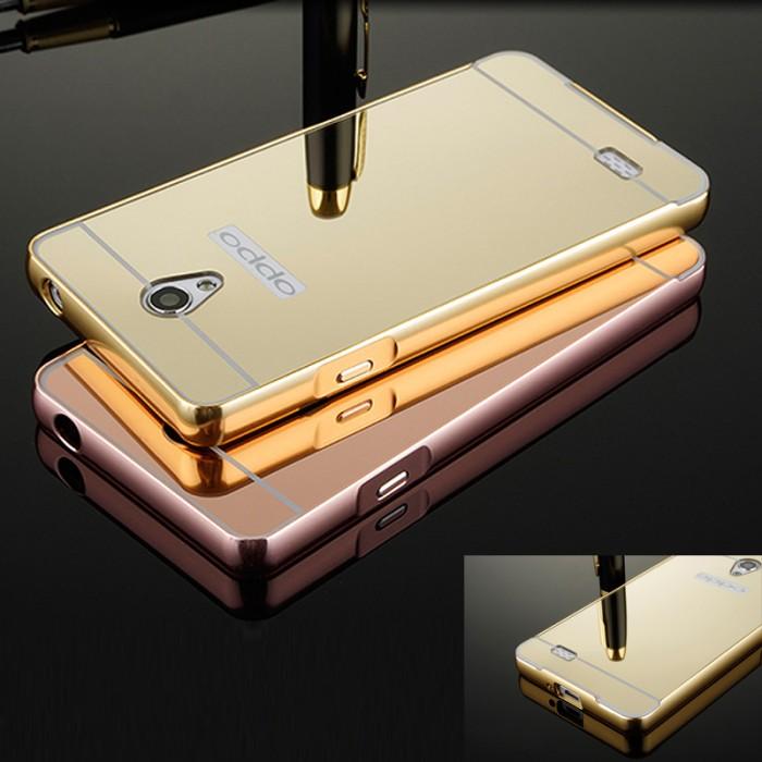 Metal Bumper Slide Mirror Keren Hard Cover Case Casing Oppo Joy R1001
