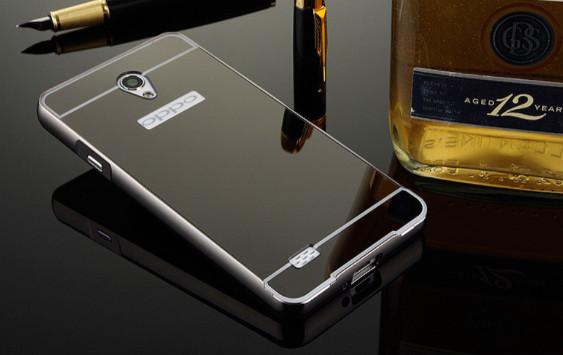 Metal Bumper Slide Mirror Hard Back Case Cover Casing Oppo Joy 3