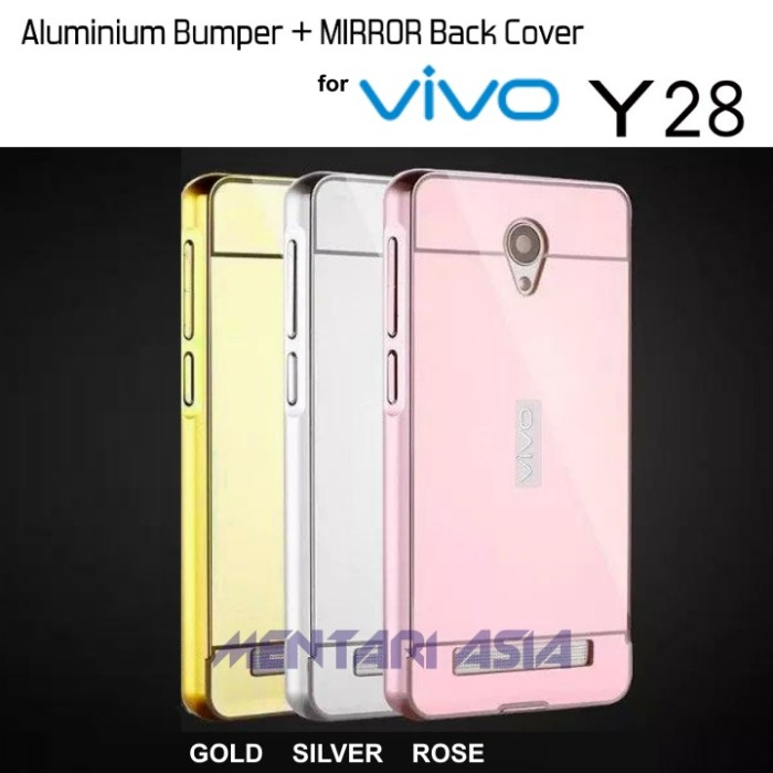 Metal Bumper Slide Mirror Kaca Keren Hard Cover Case Casing Vivo Y28