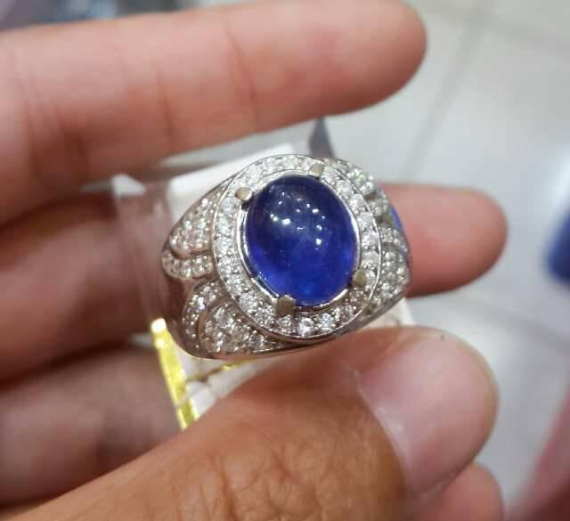Jual Cincin Perak Pria Batu Blue Safir Afrika 011 Kab Banjar