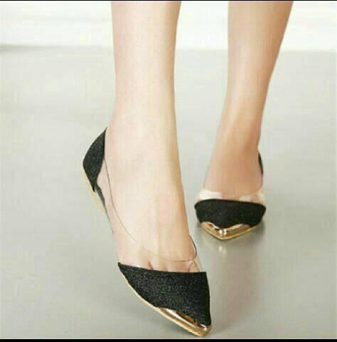 Jual Sepatu Wanita Kerja Santai Flat Shoes Mika Glitter Pasir Hitam ... cf303d06cc