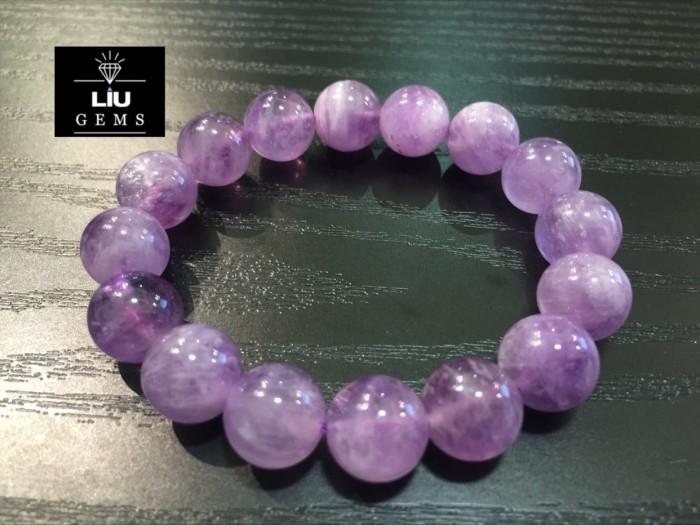 Raja Gelang Batu Natural Amethyst Lavender 12mm AAA
