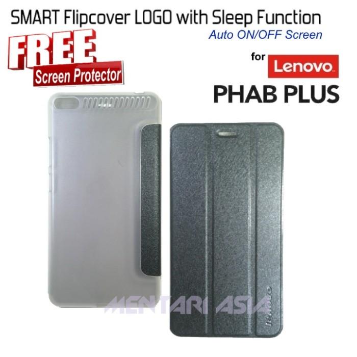 harga Flipcover lenovo phab plus 6.8  : smart cover logo ( + free sp) Tokopedia.com