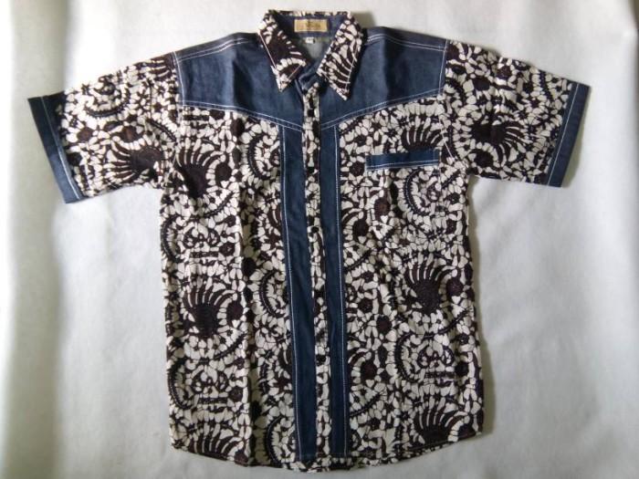 Jual Kemeja batik jeans pria prelovedbaju batik jeans second