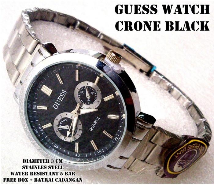 harga Jam tangan stainless guess watch crono black full set Tokopedia.com